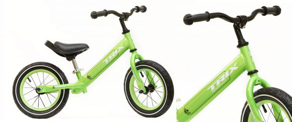 """Беговел TRIX /диаметр колес:12""""/рама:сталь/обода:сталь/цвет:зеленый/"""